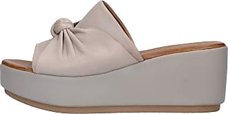 Inuovo Grey Leather Band Slipper, Wedge Height 7 cm MOD. 8698 Grey Grey Size: 6 UK