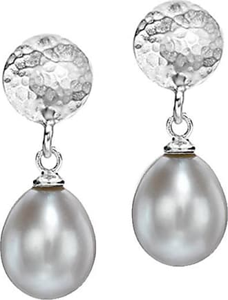 Dower & Hall Large Hammered Disc & Dove Grey Freshwater Pearl Drop Earrings