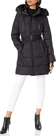 French Connection Womens Belted Zip-Front Puffer with Faux-Fur Hood Down Alternative Coat, Black, x-Large