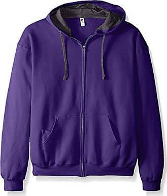 Fruit Of The Loom Mens Full-Zip Hooded Sweatshirt, Purple, XXX-Large