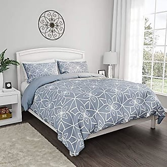 Trademark Bedford Home 66A-94496 with 2 Pillow Shams, Geometric Pattern, Reversible, Hypoallergenic by BH (Blue)