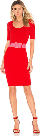 Milly Belted Fitted Sheath Dress in Red