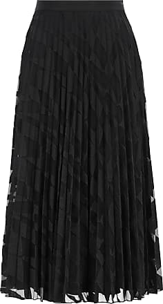 BOSS A-line pliss midi skirt in graphic-embroidered tulle