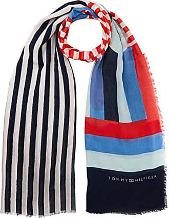 380fd38ee37d Tommy Hilfiger Spring Stripe Print Scarf, Echarpe Femme, Noir (Corporate  901),