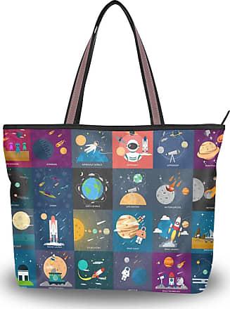 Lorona Women Universe Designs Collection Canvas Shoulder Hand Bag Large Capacity Tote Bag