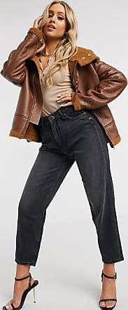 In The Style faux leather borg aviator coat in brown