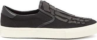 Amiri Skel Toe Leather-appliqué Canvas Slip-on Trainers - Mens - Black