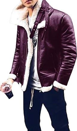 H&E Men Casual Fleece Coat Faux Leather Overcoat Jacket Purple L
