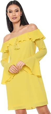 Ana Hickmann Vestido Ana Hickmann Curto Ombro a Ombro Amarelo