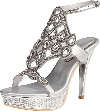 Find Nice Ladies Sexy Rhinestones Wedding Shoes Unique Dress Bride Evening Platform Sandals Silver 7.5 UK