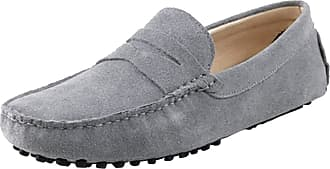 MGM-Joymod Mens Slip-on Grey Suede Driving Moccasin Penny Loafers Boat Shoes 10.5 M UK