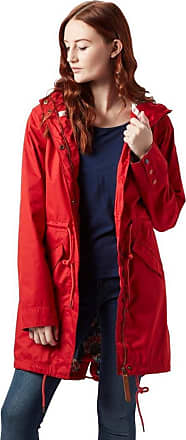 Weird Fish Amorite Waterproof Print Lined Parka Jacket Tango Red Size 16