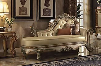 ACME ACME Vendome Gold Patina Chaise with 2 Pillows