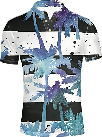Coloranimal Classic Collar Short Sleeve Polos for Teenager Boys Team Uniform Performance Top Tees Hawaii Palm Tree Design Shirts