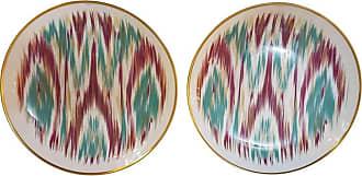Hermès Porcelain voyage En Ikat Emerald Dessert Plate For Two, France