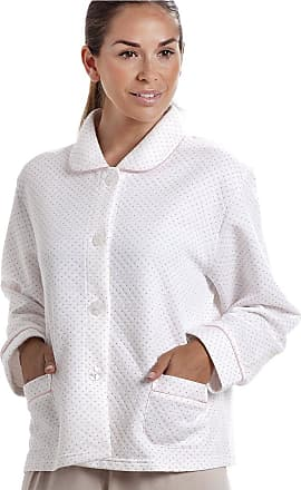 Camille Womens Ladies White Bed Jacket with a Pink Dot Print 18/20