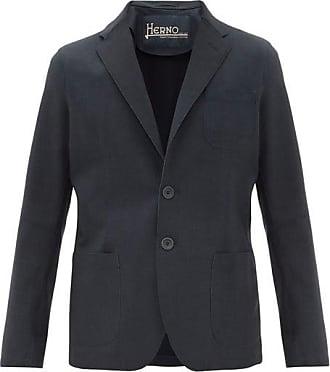 Herno Single-breasted Bonded-jersey Blazer - Mens - Navy