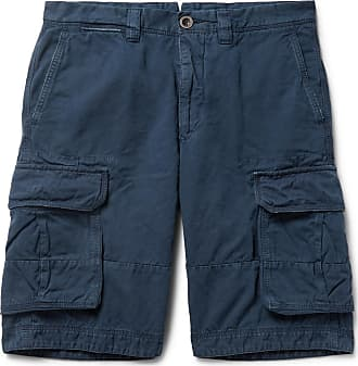 Incotex Washed Cotton And Linen-blend Cargo Shorts - Navy