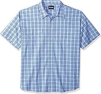 Wrangler Mens Big and Tall Big & Tall Wrinkle Resist Two Pocket Short Sleeve Snap Shirt, Blue, 3X
