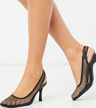 Z_Code_Z Exclusive Ibna vegan mesh square toe heeled shoes in black