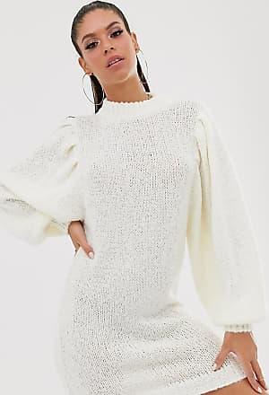 Asos Tall ASOS DESIGN Tall - Kurzes Pulloverkleid aus edlem Garn mit weiten Ärmeln-Cremeweiß