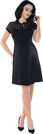 Purpless Maternity Sheer Mesh Teardrop Keyhole Bow Tie Pregnancy Dress D016 (12, Black)