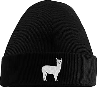 HippoWarehouse Llama Embroidered Beanie Hat Black