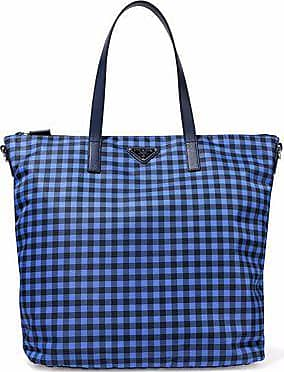 9b5563c77255 ... italy prada prada woman leather trimmed gingham shell tote blue size  62d20 f1daf
