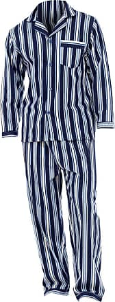 Universal Textiles Mens Striped Flannel Long Sleeved Shirt & Trousers Pyjamas/Lounge Set (L Chest: 46-49inch ; Waist 30-33inch) (Navy Stripe)
