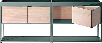 HAY New Order Regal/Sideboard 200x79.5cm - army dunkelgrün/esche/mit 2 Holztüren