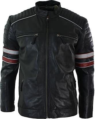 New Black Genuine Leather Racer Jacket biker color blocked white Band collar Men