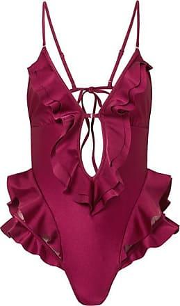0130687d8e64f Zimmermann Amari Swiss-dot Tulle-paneled Ruffled Swimsuit - Magenta