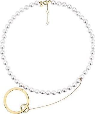Misaki Collier ras de cou Shore doré avec perles blanches