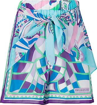 Emilio Pucci Short com estampa abstrata de algodão misto - Azul