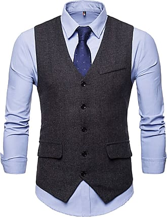 Whatlees Mens Slim Tweed Vest with Double-Breasted Button Front Black 02010004XBlack+XXL
