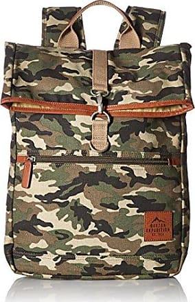 Buxton Mens Expedition Ii Huntington Gear Fold-Over Canvas Backpack, Camo