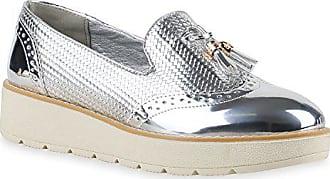 Stiefelparadies Damen Slipper Lack Plateau Loafers Metallic Loafer Flats  Glitzer Slippers Quasten Lochung Schuhe 131010 Silber 7efd6b656d
