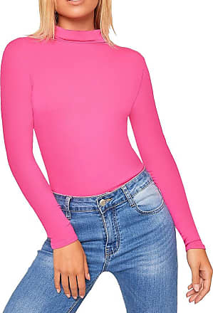 Crazy Girls New Womens Plain Turtle Polo Roll Neck Ladies Long Sleeve Stretch T-Shirt Tee Top (Cerise, 12-14)