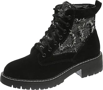 Yvelands Lace Up Booties Women, Womens Ladies Round Toe Think Bottom Snow Boots Short Booties for Ladies Winter Ankle Booties Black