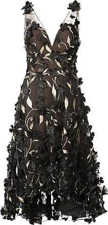 Marchesa floral embroidered dress - Black