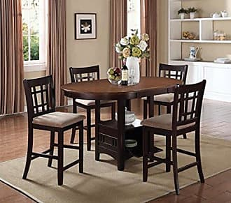 Coaster Fine Furniture Coaster Home Furnishings Lavon 5-Piece Storage Counter Table Dining Set Tan and Espresso