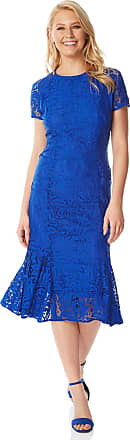 Roman Originals Women Floral Lace Overlay Dress - Ladies Shift Lined Knee Length Stretch Formal Wedding Guest Party Evening Ball Gown - Royal Blue - Size 10