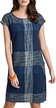 White Label Seasalt Cotton Yarn Check Tunic Dress Fully Lined Scoop Neck Short Sleeve Blue/White Size 14