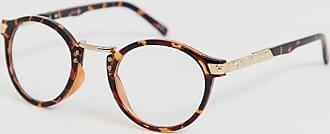 Asos round fashion glasses in tort with clear lenses-Brown