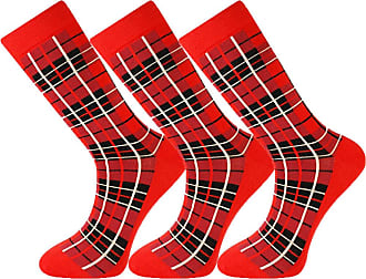 MySocks 3 Pairs Unisex Ankle Design Socks Check Design Red
