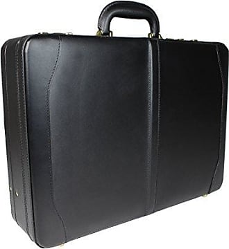 World Traveler Avenues Executive Leather Expandable Attache Briefcase, Black, One Size