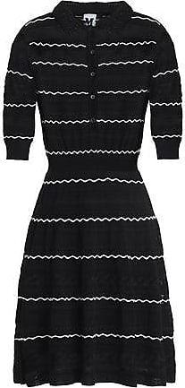 ecdf1cb89a M Missoni M Missoni Woman Striped Crochet-knit Cotton-blend Mini Dress  Black Size