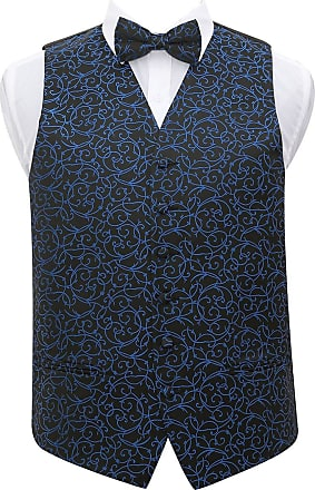 DQT Premium Woven Jacquard Swirl Black and Blue Mens Wedding Waistcoat Vest and Pre-tied Bow Tie 2 pc. Matching Set - 46