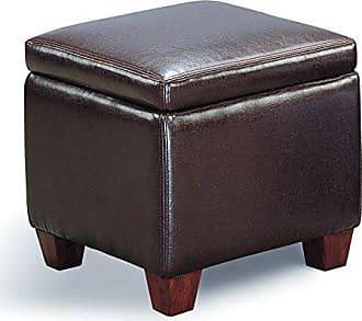 Coaster Fine Furniture Cube Shaped Storage Ottoman Dark Brown