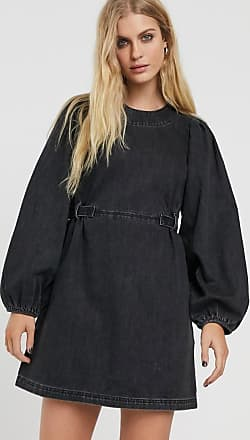 & Other Stories denim balloon sleeve mini dress in washed black